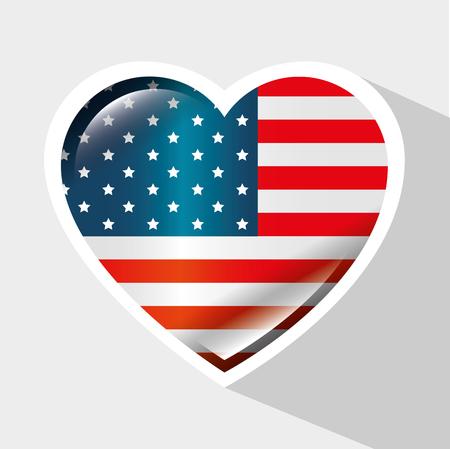 American flag with heart shaped frame over grey background. Vector illustration. Иллюстрация