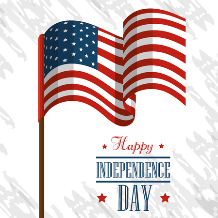 Waving american flag over white background. Vector illustration. Illustration