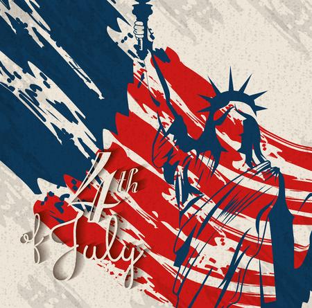 Freiheitsstatue Silhouette über beige Hintergrund mit Farbflecken . Vektor-Illustration Standard-Bild - 78100890