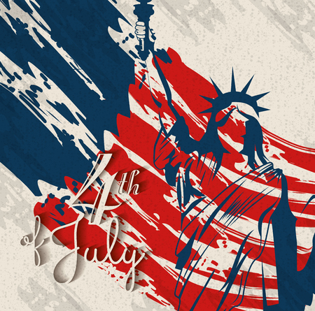 Statue of liberty silhouette over beige background with paint stains. Vector illustration. Ilustracja