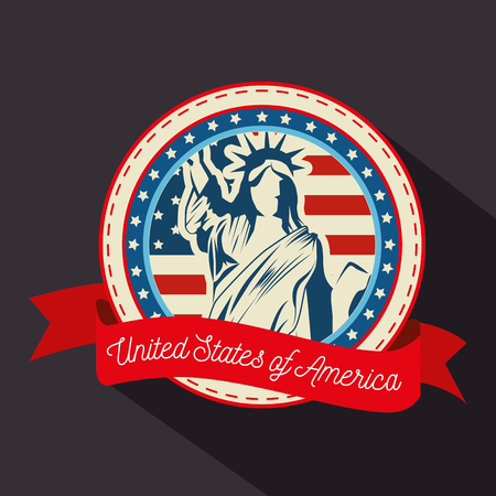Statue of liberty silhouette, american flag and ribbon over grey background. Vector illustration.