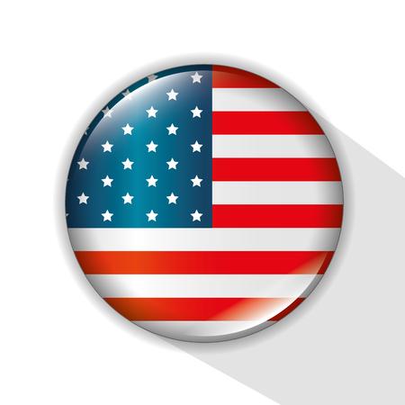 USA flag button over white background. Vector illustration.