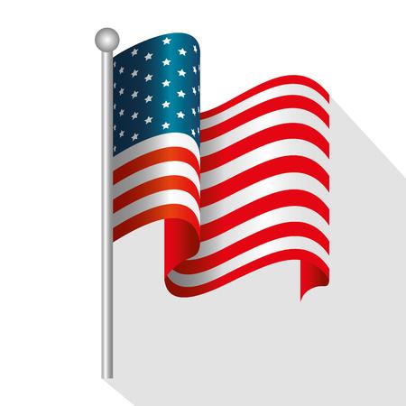 Waving american flag over white background. Vector illustration. Иллюстрация