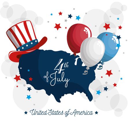 Kaart van de VS met Amerikaanse hoed en ballonnen op witte achtergrond. Vector illustratie Stock Illustratie