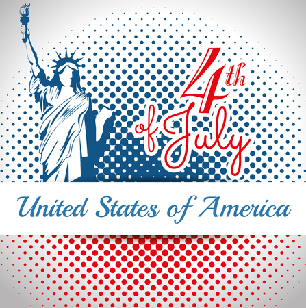 Statue of liberty silhouette and 4th of july sign over white background with red and blue dots. Vector ilustration