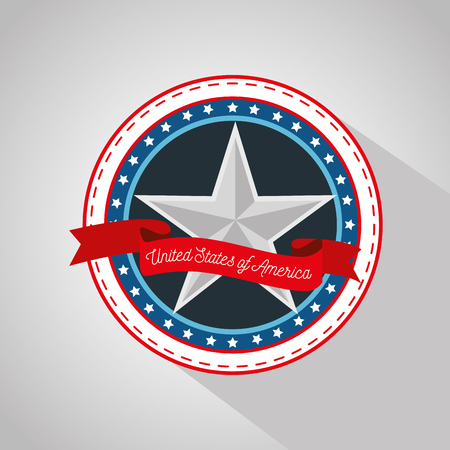 Star sticker with red ribbon over white  background. Vector illustration.