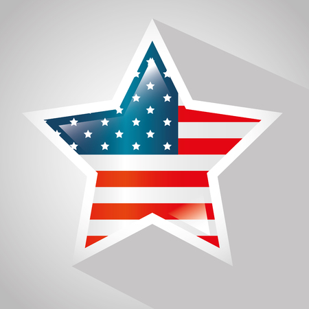 American flag with star shaped frame over white background. Vector illustration.