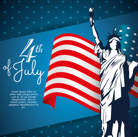 Statue of liberty silhouette with american flag over blue starry background. Vector illustration. Ilustracja
