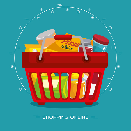 Shopping basket and food-related items over teal background. Vector illustration.