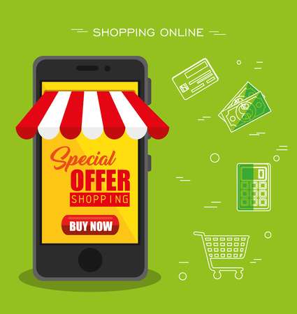 Smartphone with red and white awning and shopping related objects over green background. Vector illustration.