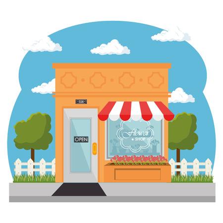 Van buiten gezien, bloemenwinkel met rode en witte luifel en winkelruit op witte achtergrond. Vector illustratie. Stock Illustratie