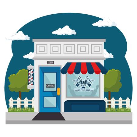 Van buiten gezien, kapper met rode en blauwe luifel en winkelruit op witte achtergrond. Vector illustratie. Stockfoto - 78101576