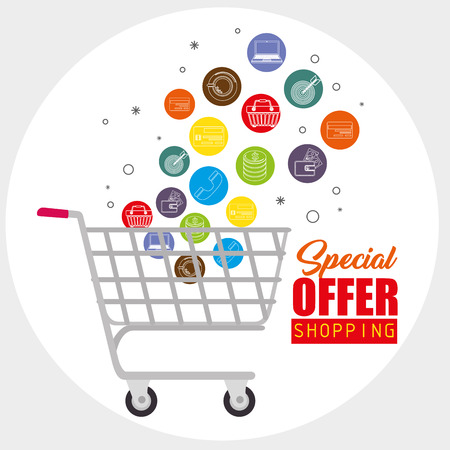 Shopping cart and shopping related icons with special offer sign over white background. Vector illustration.