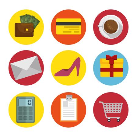 Shopping related icons over white background. Vector illustration. Ilustração
