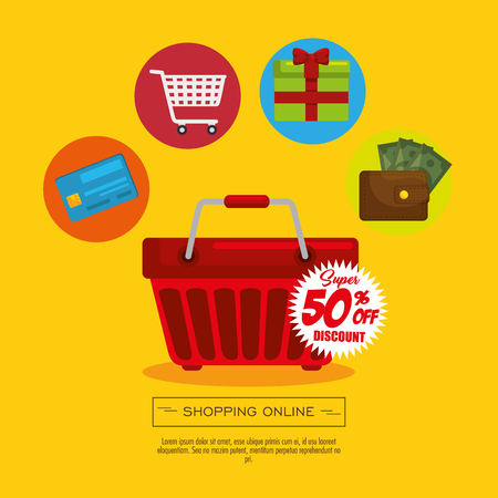 Shopping basket with shopping related icons over yellow background. Vector illustration.
