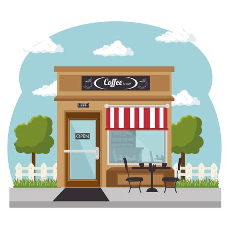 Van buiten gezien, coffeeshop met rode en witte luifel en winkelruit op witte achtergrond. Vector illustratie. Stock Illustratie