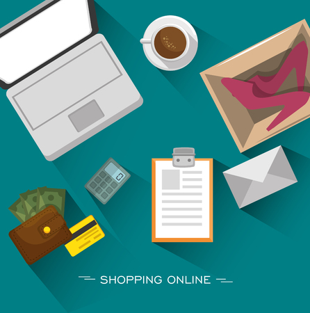 Laptop, coffee and shopping related objects seen from above over teal background. Vector illustration. Ilustração