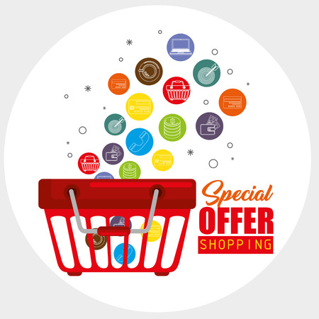 Shopping basket and shopping related icons with special offer sign over white background. Vector illustration.