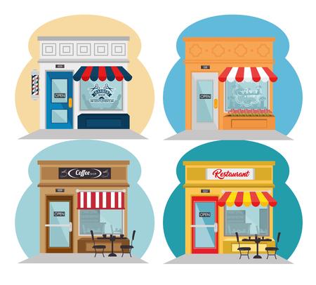 Stores seen from outside icons over white background, vector illustration. Ilustração
