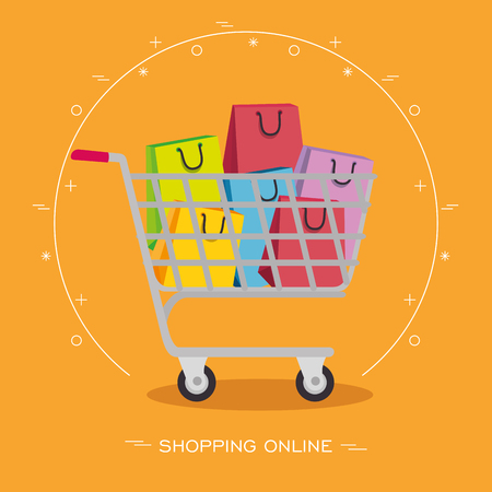 Shopping cart with colorful bags inside over orange background. Vector illustration. Illustration