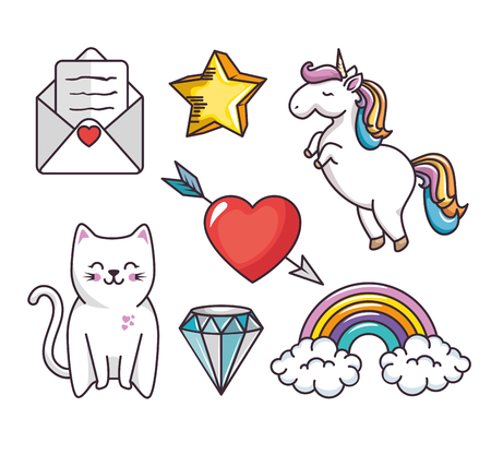 diamond letters: Cat, love letter, star, heart with arrow, diamond, rainbow and unicorn over white background. Vector illustration. Illustration