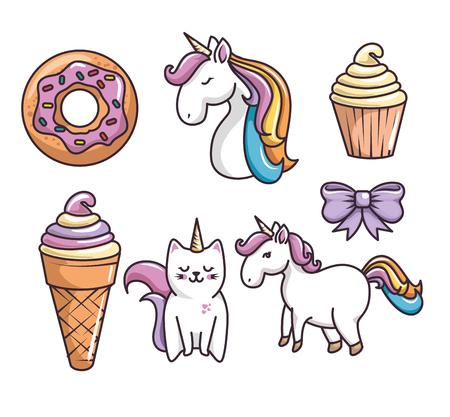 お菓子と白い背景の上のユニコーン関連デザインのセットです。ベクトルの図。