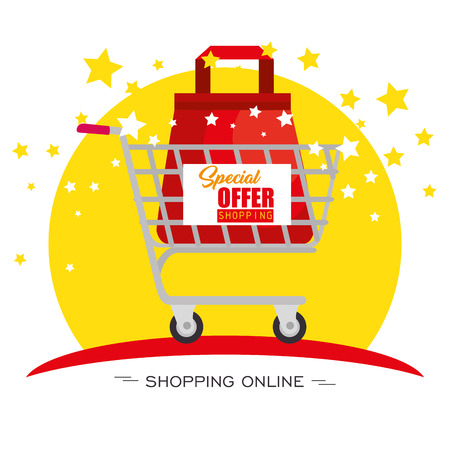 Shopping cart with bag inside and stars over white background. Vector illustration.