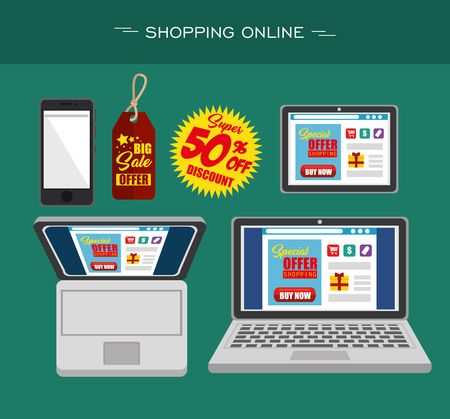 Electronic devices with online shopping website on screens seen from above over teal background. Vector illustration.
