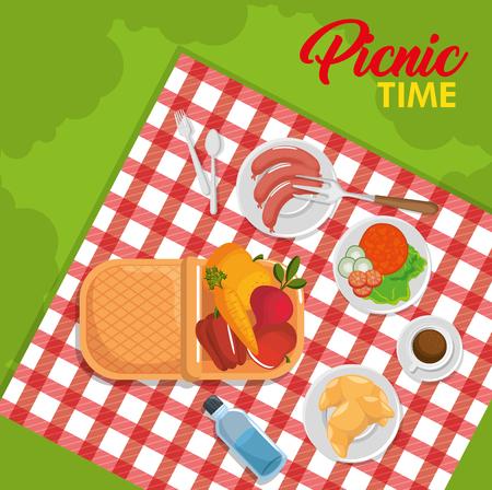 上からの眺め、バスケット、レッド ギンガム チェック パターンのブランケット、緑の背景以上の食品。ベクトルの図。