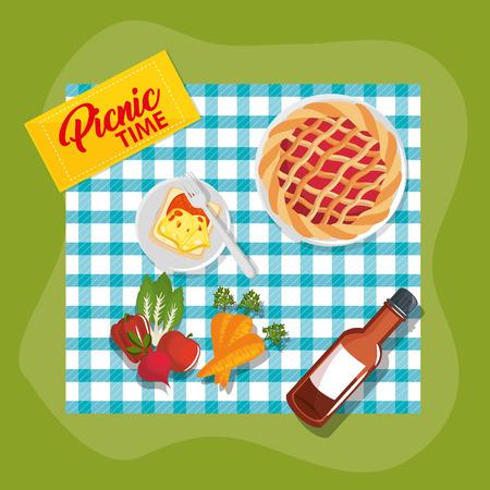 Picnic time design with teal gingham pattern blanket and food over green background. Vector illustration. Illustration