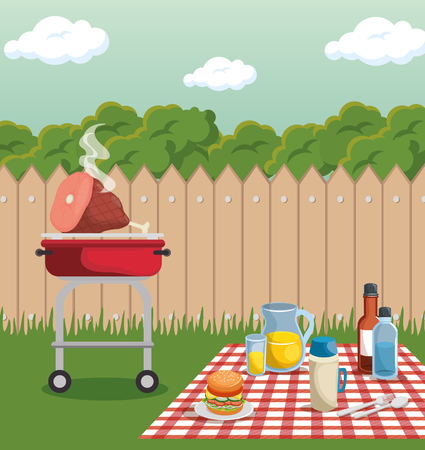 Picnic and barbecue at backyard with fence. Vector illustration