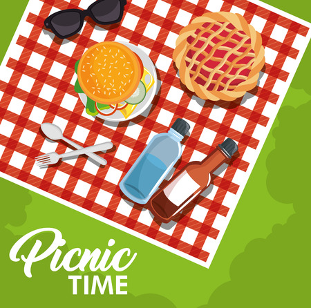 Picnic time design with red gingham pattern blanket and food over green background. Vector illustration. Illustration