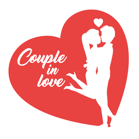 Man picking up girlfriend for kiss silhouettes and heart over white background. Vector illustration.