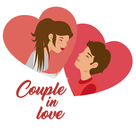 Couple portraits and hearts over white background. Vector illustration.