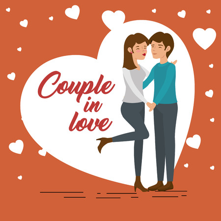 Couple holding hands and hearts over brick red background. Vector illustration. Illustration