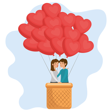 Cute couple in basket and heart-shaped balloons over white background. Vector illustration.