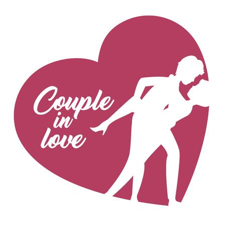 Paar dat over voor kus silhouetten leunt een hart over witte achtergrond. Vector illustratie.