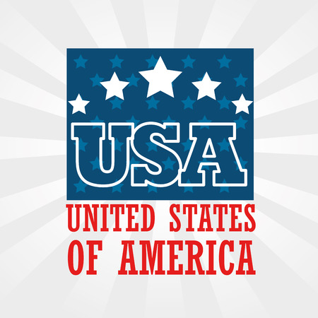 USA sign with stars over white background. Vector illustration. Illustration