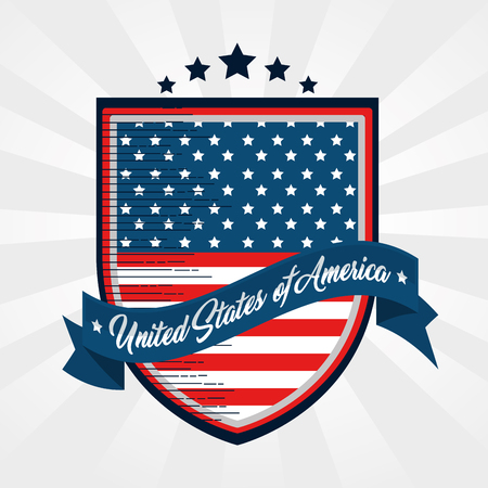 American flag shield and ribbon over white background. Vector illustration.