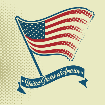 American waving flag and ribbon over beige background. Vector illustration