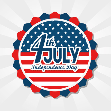 American flag label with 4th july sign over white background. Vector illustration