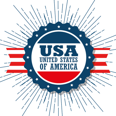 USA sign and red stripes over white background. Vector illustration