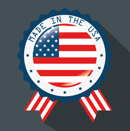 Made in the USA ribbon with flag over  grey background. Vector illustration Иллюстрация