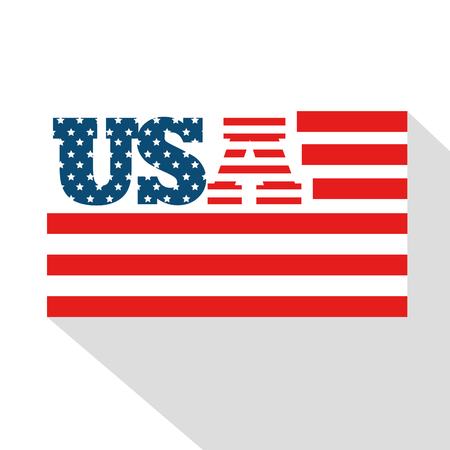 USA sign with flag and red stripes over white background.  Vector illustration.