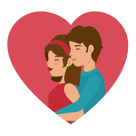Boyfriend hugging from girlfriend from behind and heart over white background. Vector illustration.