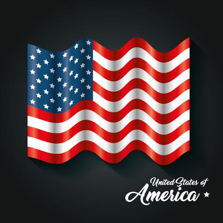 American waving flag over black background. Vector illustration