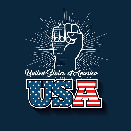 Hand drawn raised fist and USA sign with flag over blue background. Vector illustration