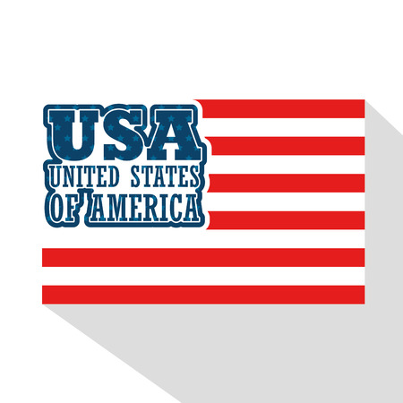 USA sign with red stripes over white background. Vector illustration.