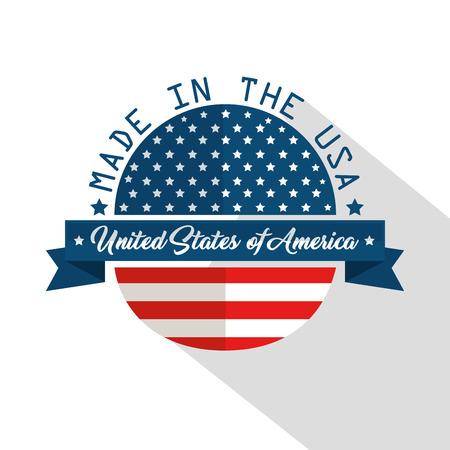 Gemaakt in het ontwerp van de VS met vlag en lint over witte achtergrond. Vector illustratie