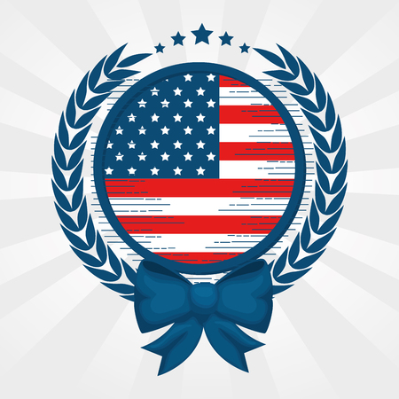 American flag with round frame, bow and laurel wreath over white background. Vector illustration